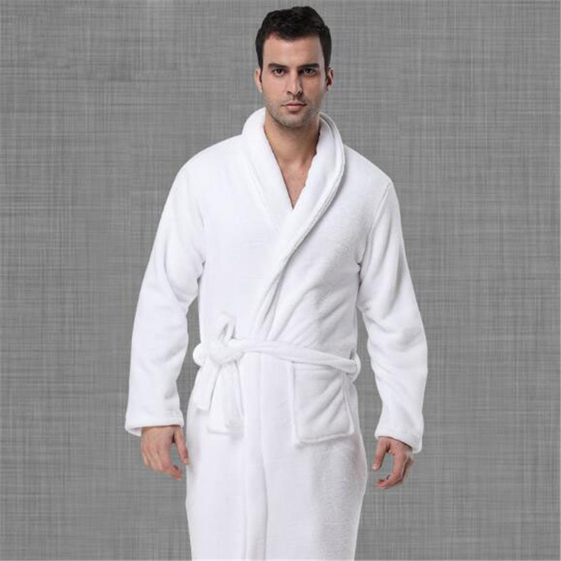 Big Size Flannel Bath Robe Solid White Thickening Sashes Long Sleeve Home Nightgown Sleepwear For Male Bathrobes Ds5090
