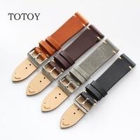 TOTOY Handmade Italian Leather Watchbands 18MM 20MM 22MM Retro Men S Soft Watchbands Calfskin Strap Fast