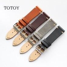 Totoy artesanal pulseiras de couro italiano, 18mm 19mm 20mm 21mm 22mm retro masculino pulseiras de relógio macio, correia de pele de bezerro, entrega rápida