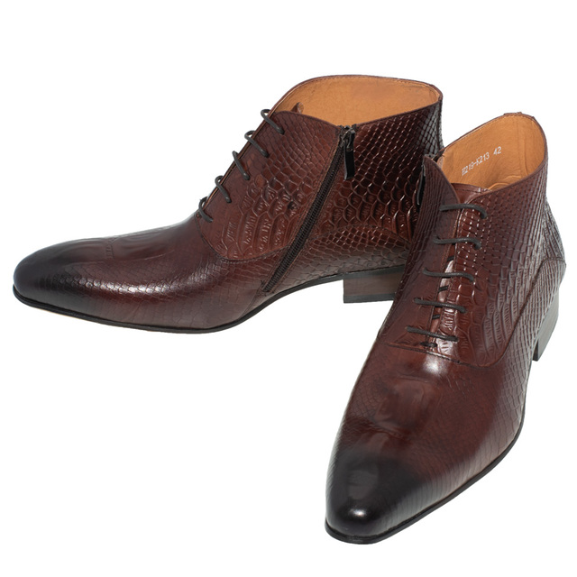 Men Dress Leather Boots Basic Black Brown Color Fashion Luxury Brand Lace-up and Zip Ankle Men's Pointed Toe Dress Oxfords Shoes