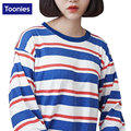 New 2016 Women Tops Autumn Female T Shirt Harajuku Tops Striped Long Sleeve T-shirt  Women Clothing Loose Kawaii BF Top Winter