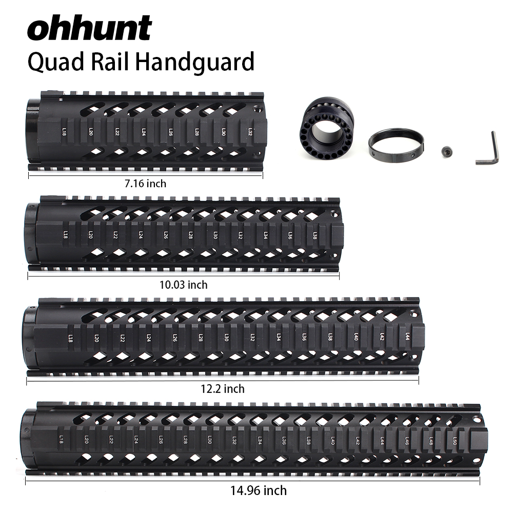 """Ohhunt tactique 7 """"10"""" 12 """"15"""" flotteur libre Quad Picatinny Rail Handguard installe sur carabine Standard. 223 5.56 AR15 M16 fusils"""