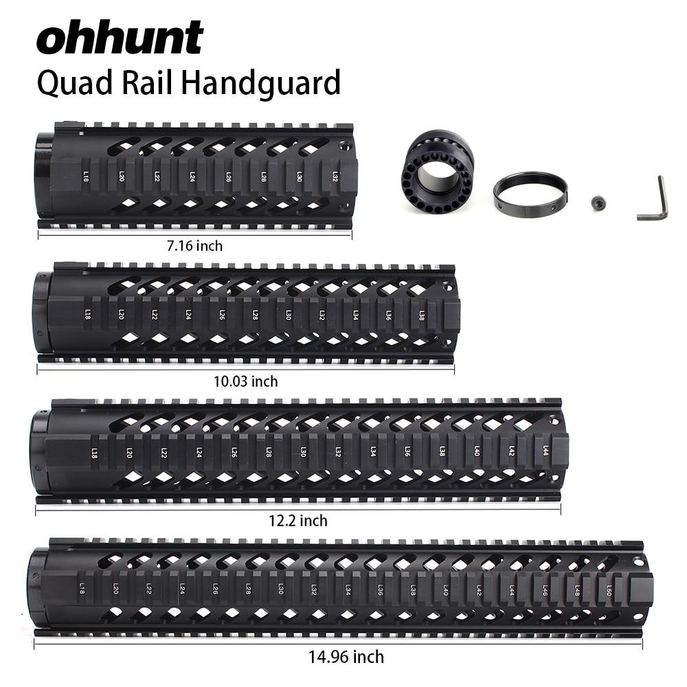 ohhunt Tactical 7 10 12 15 Free Float Quad Picatinny Rail Handguard Installs On Standard Carbine .223 5.56 AR15 M16 Rifles tactical ohhunt t series 12 inch free float quad picatinny rail handguard installs on carbine length ar15 m16 rifles black tan