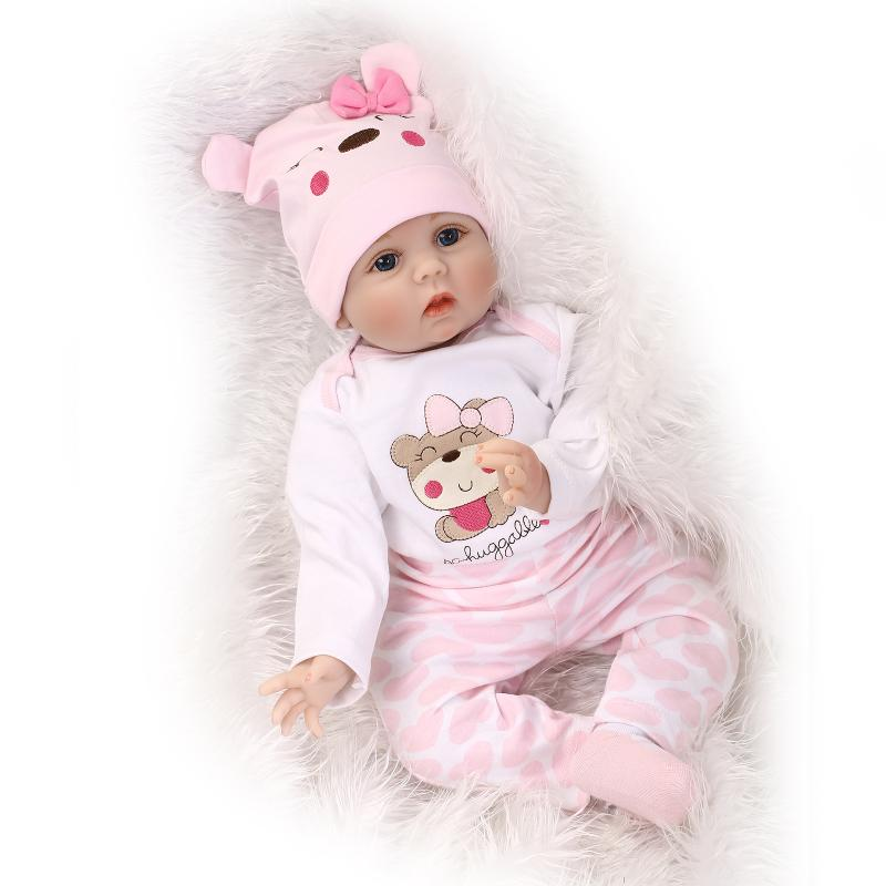 22 Slicone Reborn Baby Doll Toy Play House Bedtime Toys for Girls Brinquedos Soft Boneca Bebe Reborn Doll in Pink Bear Clothes pp bedtime for baby dwf acct