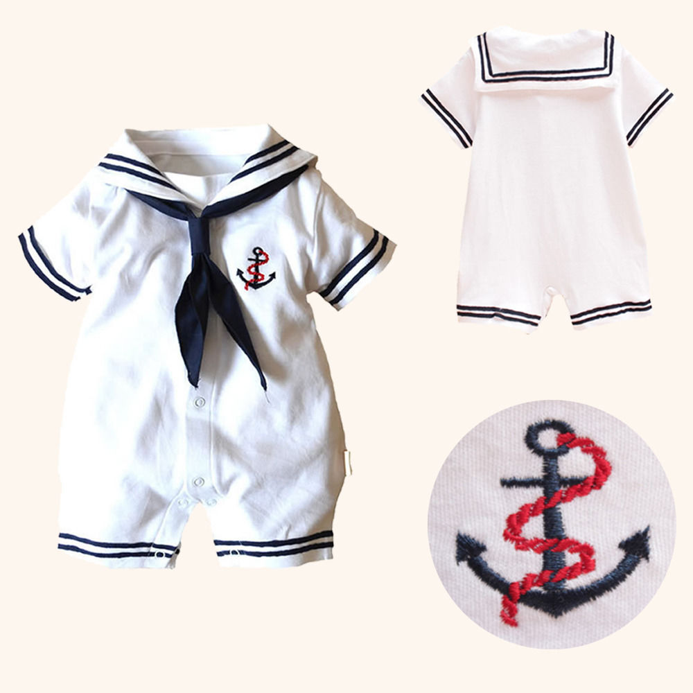 Hot Newborn Boy Clothes Baby Romper Sailor Costume infant Babygrows Infant Kids Clothes Summer Short Sleeve Rompers One Pieces summer 2017 navy baby boys rompers infant sailor suit jumpsuit roupas meninos body ropa bebe romper newborn baby boy clothes