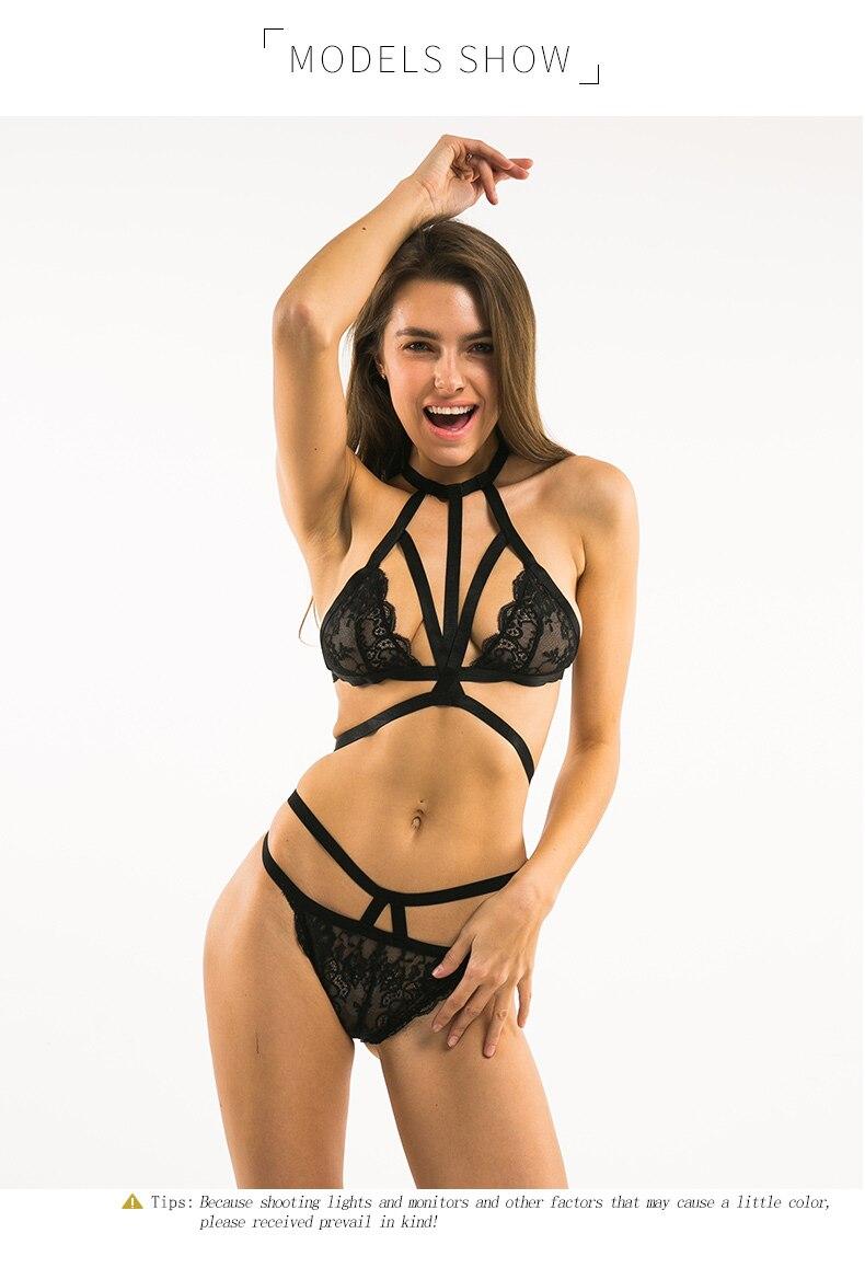 82517d38529d6 Women Black Sexy Choker Bra Lace Underwear Straps Bralette Panties ...