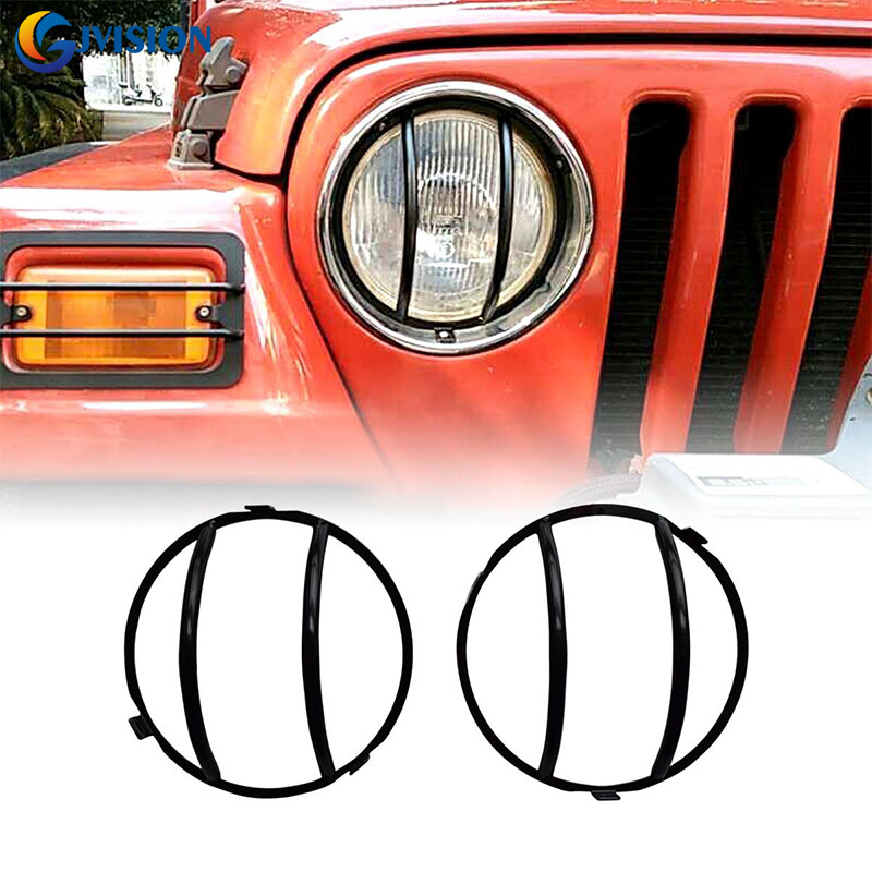 NEW products Black led Headlight Lamp Decoration GUARD Cover For Jeep Wrangler  TJ JK high quality stainless steel black light guard rear taillights cover for 07 17 jeep wrangler jk 2 door