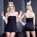 Женщины Sexy Bunny Костюмы Косплей Сексуальное нижнее белье ночной клуб носить Кролик Длинные Уха Униформа Женское Белье Мини-Платье