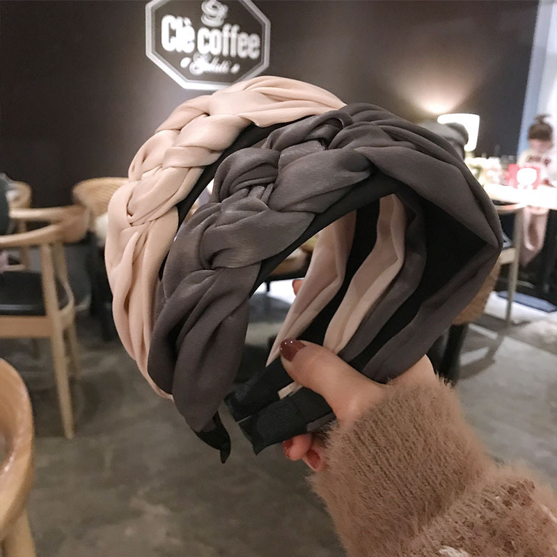 Haimeikang Braid Hairband Women Cotton Fabric Knotted Headband Vintage Twist Turban Hair Accessories Wide Hair Band   Headwear