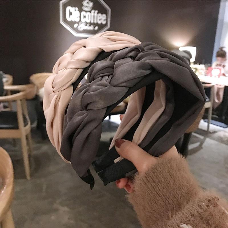 Haimeikang Braid Hairband Women Cotton Fabric Knotted Headband Vintage Twist Turban Hair Accessories Wide Hair Band Headwear