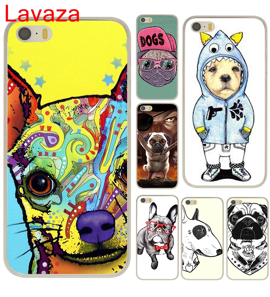 Lavaza Tattooed Bullterrier Cute dog Biaoqing Hard Transparent Case Cover for iPhone 5 5S SE