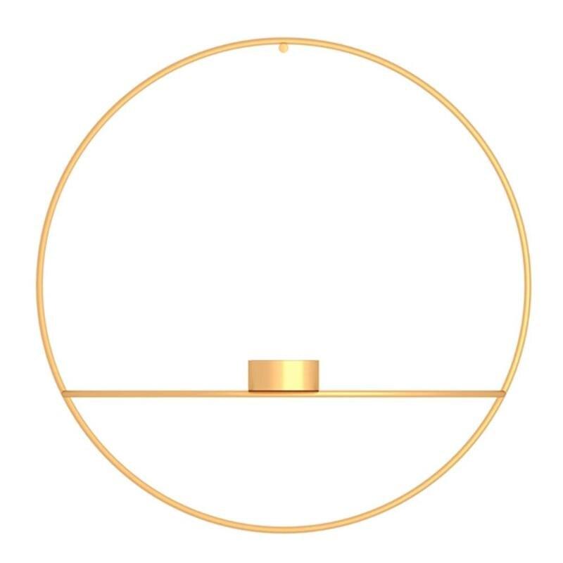 3D металлический подсвечник настенный геометрический Круглый Подсвечник домашний декор геометрический чайный светильник подарок на день Святого Валентина - Цвет: 02