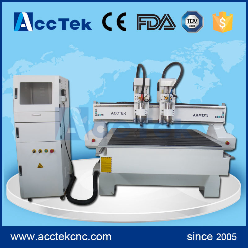 AccTek China Multi Heads Cnc Router Machine With 1.5kw 2kw 3kw Spindle