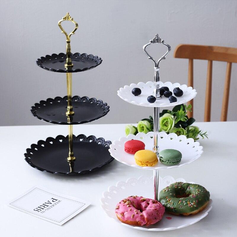 Трехслойная тарелка с фруктами для свадебной вечеринки, десертный поднос, конфетные блюда для тортов, стойка для буфета, стеллаж для домашнего декора стола-2
