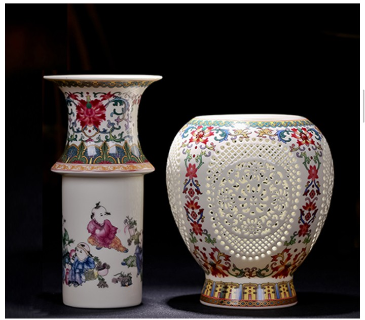 SNS Antique China Jingdezhen Ceramic Vase Chinese Openwork Vase Gift Home Crafts Collection Household Items