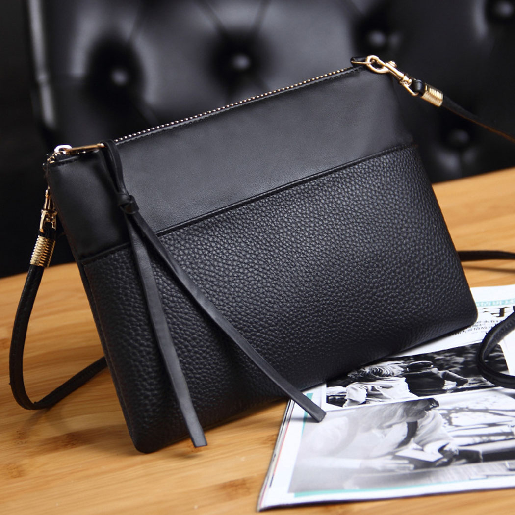 Coofit Clutch Bag Simple Black Leather Crossbody Bags Enveloped Shaped Small Messenger Shoulder Bags Big Sale Female Bag