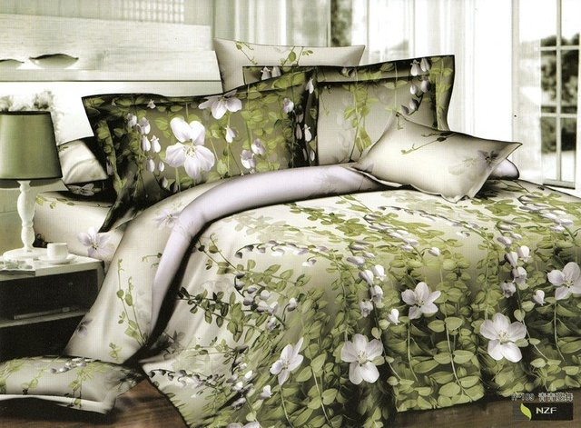 Hot Beautiful 4PC 100% COTTON COMFORTER DUVET DOONA COVER SET QUEEN / KING SIZE bedding set 4pcs Green Vine & leaf