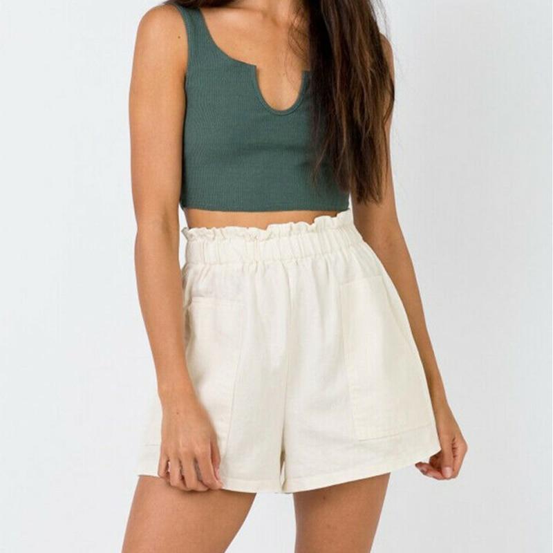 Women Summer High Waist Linen Blend Shorts Hot Beach Casual Short Shorts Fashion Solid Casual Loose Shorts New