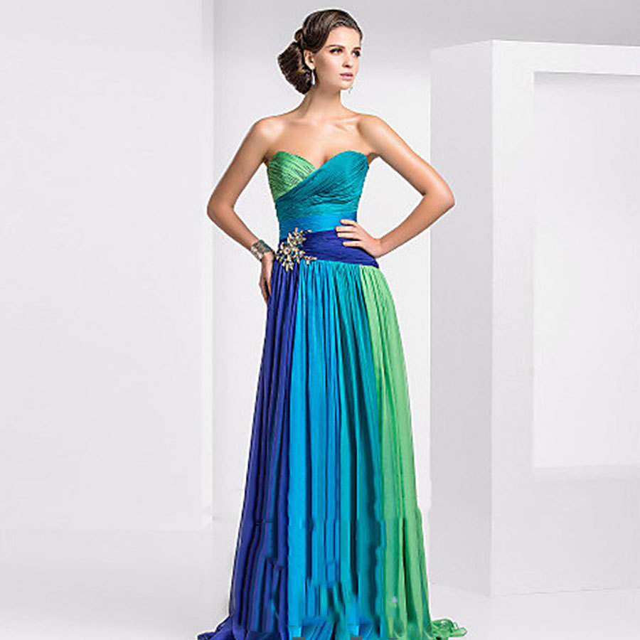 Ready to ship in store + Free shipping Best quality sweetheart chiffon colorful   prom     dress   long with pleat for women