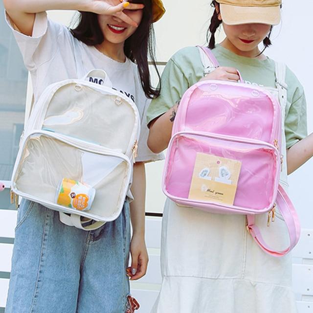 かわいいクリア透明女性pvcゼリー色学生ランドセルファッションita十代の少女のための学校のバックパック新