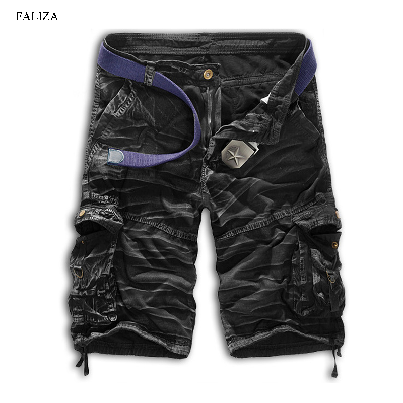FALIZA New 2018 Summer Cargo Shorts Casual Loose Short Pants Camouflage Military Knee Length Homme Cargo Shorts No belt DK113