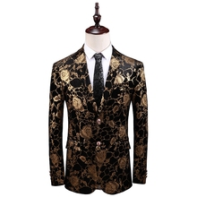 Classic Gold Blazer Men 2019 Fashion Casual Spring Autumn High Quality Wedding Suit Jacket Design Slim Fit