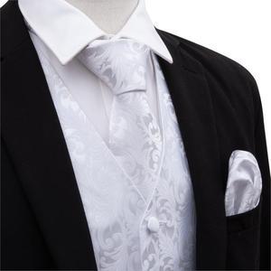 Image 3 - Barry.Wang Mens Klassieke Witte Bloemen Jacquard Zijde Vest Vesten Zakdoek Party Bruiloft Tie Vest Suit Pocket Plein Set