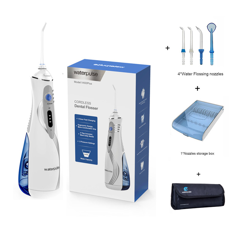 Li Ion battry Water Dental Flosser Irrigator V400 Plus Oral Hygiene tool 4 Nozzles bag Mouth
