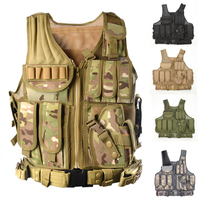 Military Tactical Vest with Gun Holster MOLLE Airsoft Combat Tactical Vest Black tan green multicam