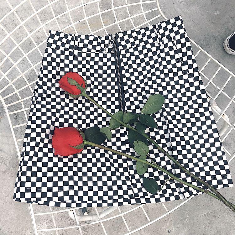 HTB1dLBRRpXXXXXZXVXXq6xXFXXXj - FREE SHIPPING High Waist Mini Skirts Black White Checkerboard Plaid JKP240