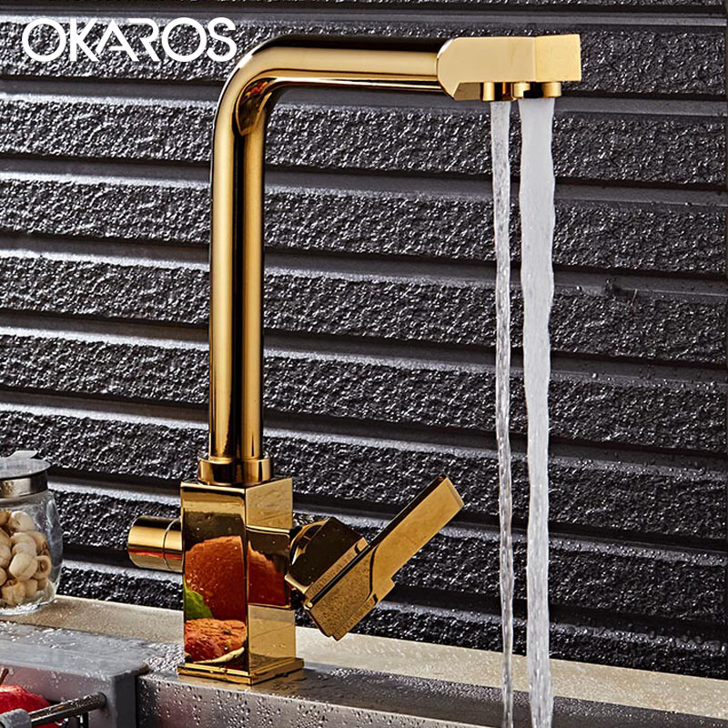 OKAROS Golden Kitchen Faucet Water Filter Faucet Dual Sprayer 360 Degree Rotation Drinking Water Tap Sink Mixer Tap Torneira frap new white black flexible kitchen sink faucet brass 360 degree rotation torneira cozinha water tap mixer kitchen goods f4042