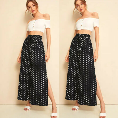 2019 Women Fashion   Wide     Leg     Pants   High Waist Loose Casual Baggy   Pant   Summer Style Black Dot Casual   Pants   Female Trousers