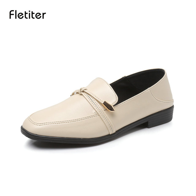 Woman Shoes Handmade Beige Leather Loafers Casual Shoes Plus size Round Toe  Low Heel Autumn Genuine Leather Ladies Flats Fletite a5a52a4a1532