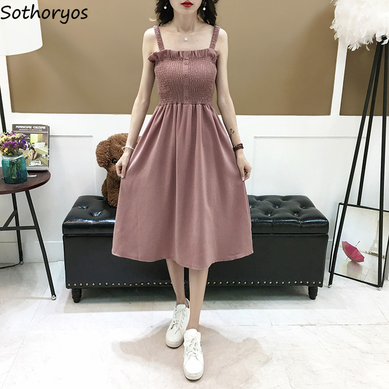 Sleeveless Dress Women Sexy Slash Neck Sling Slim A-line Solid Single-breasted Korean Style Elegant Summer Beach Womens Clothing