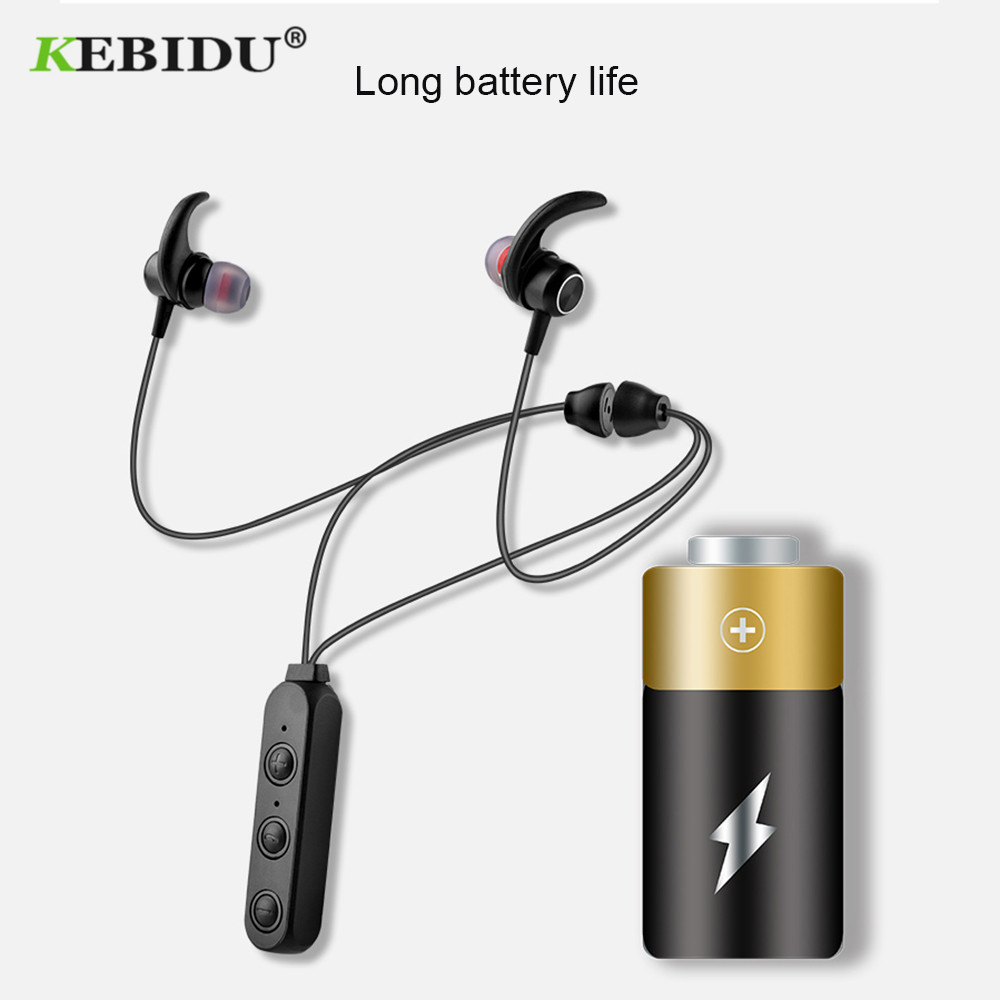 KEBIDU Bluetooth Wireless Earphone Magnet Design Outdoor Sport headset For Phone Stereo Music Magnet Headphones With Microphone magnetic attraction bluetooth earphone headset waterproof sports 4.2