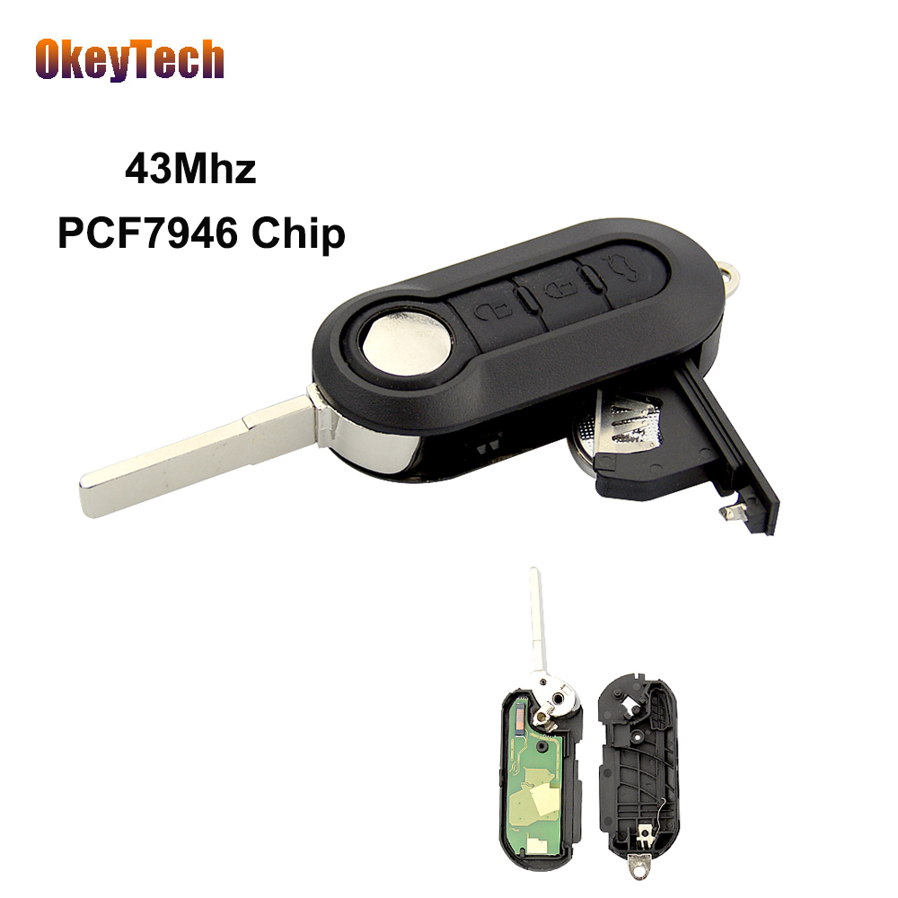 OkeyTech 3 Button Flip Folding Remote Control Auto Car Key Uncut Blade 433Mhz PCF7946 Chip for Fiat 500 Panda Punto Bravo Grande okeytech colorful remote car key shell cover replacement protective case for fiat 500 panda punto bravo flip folding 3 button