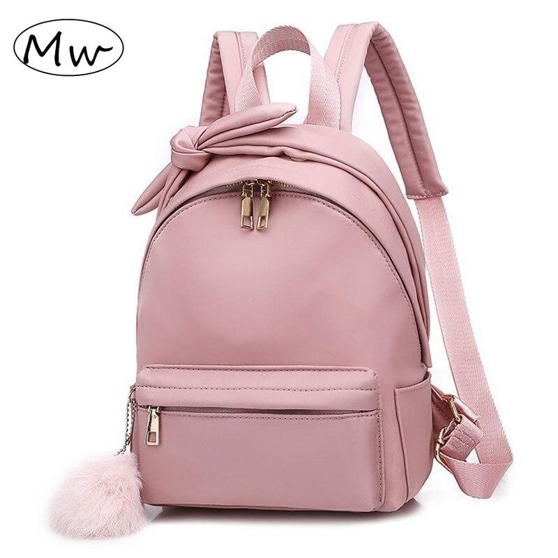 Women's Pink Backpack Waterproof Bagpack Polyester Hairball Female Shoulder Bag School Bag Solid Travel Mochila Feminina