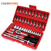 46pcs Car Repair Tool Case 1 4 Inch Socket Set Ratchet Torque Wrench Spanner Combo Tools