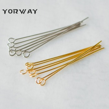 100pcs Real gold Plated Brass Head pin Jewelry Finding 25*0.5mm 50*0.5mm,Flat Headpins