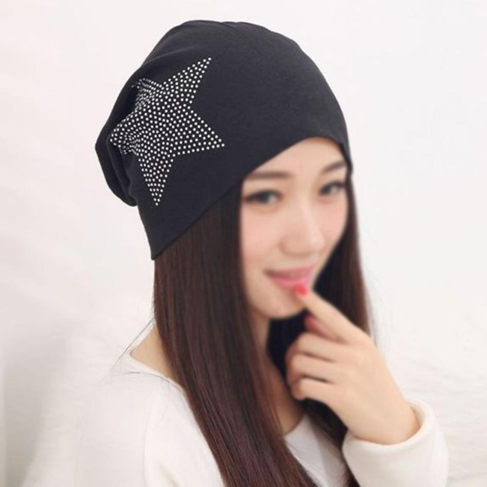 NEW Fall Winter Knit Baggy Women Hats Bronzing Star Fashion Casual Beanie Cap High Elasticity Female Skullies Cotton Girl Hat