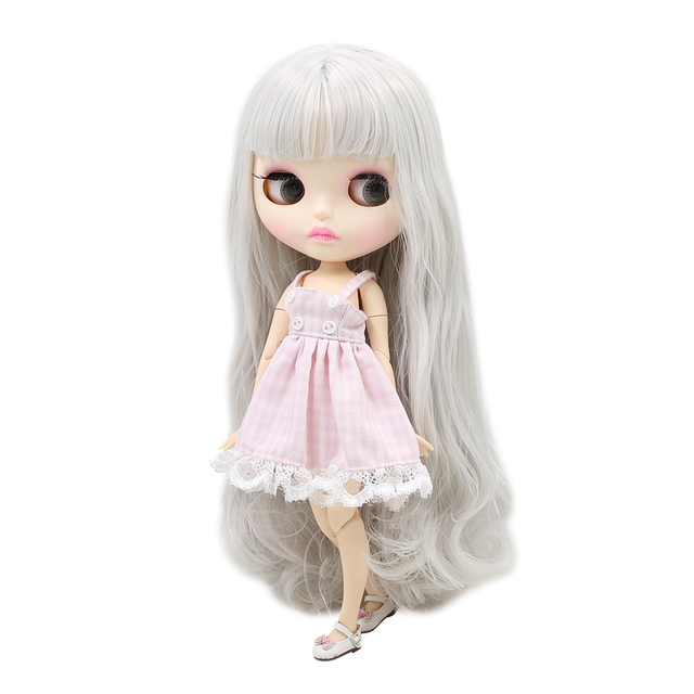 Blyth nude doll 30cm white skin Fantasy silver long curly hair 1/6 JOINT body new matte face ICY DIY toy No.280BL1003