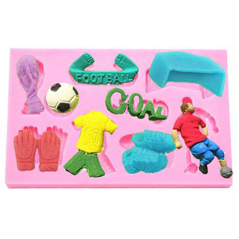 Free Shipping Junior Football World Cup Fondant Gunpaste Icing Candy Mold Great for Christening Decoration Cupcake image
