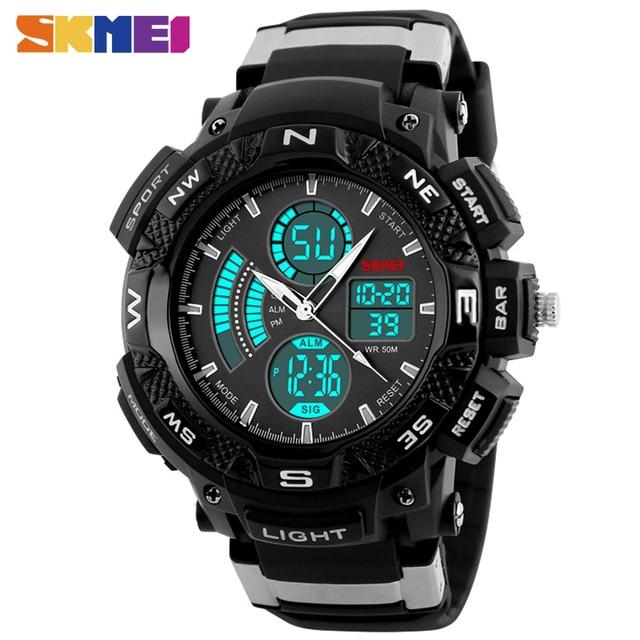 SKMEI 1211 Men Sport Digital Watch Fashion Outdoor Dual Time Watches EL Back Light Chronograph Alarm Clock Wristwatches NEW