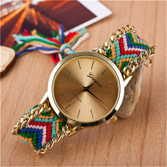 Geneva Women Elegance Leather Analog Quartz Wrist Watch pulseira relogio feminino women watches montre femme Lady watch W012