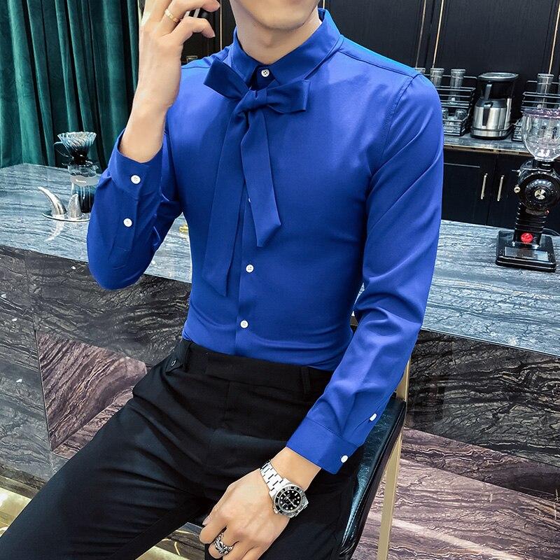 Elegant Mens Shirts Royal Blue Slim Fit Men Shirts Silk Tie White Shirts Mens Office Dress Heren Overhemd Dinner Ekose Gomlek