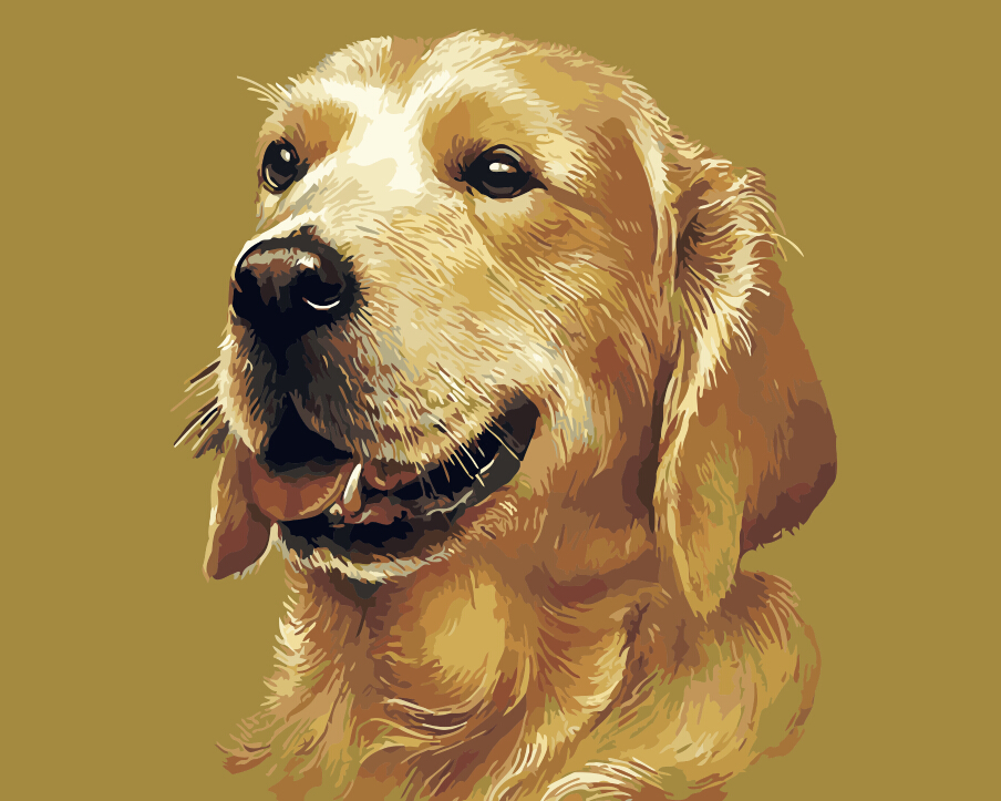 dog oil painting DIY Painting By Numbers animal dogs coloring ...