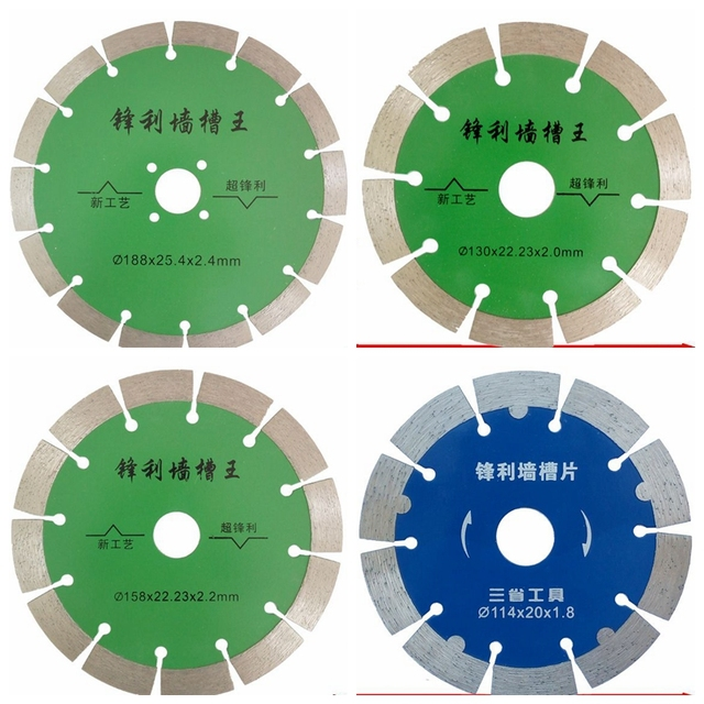 US $7 58 |114/130/158/188mm Diamond Hot Pressed Concrete Cutting Disc  Diamond Slotted Blade Stone Tile Wall Slotting Cutting Saw Blades-in Power  Tool