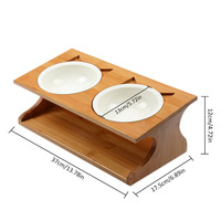 Pet wooden Tilted Feeders Pet Anti slip Double Ceramic Bowl Cat Dish with Slope Base Lovely Pet Bowls with bamboo stand CW120