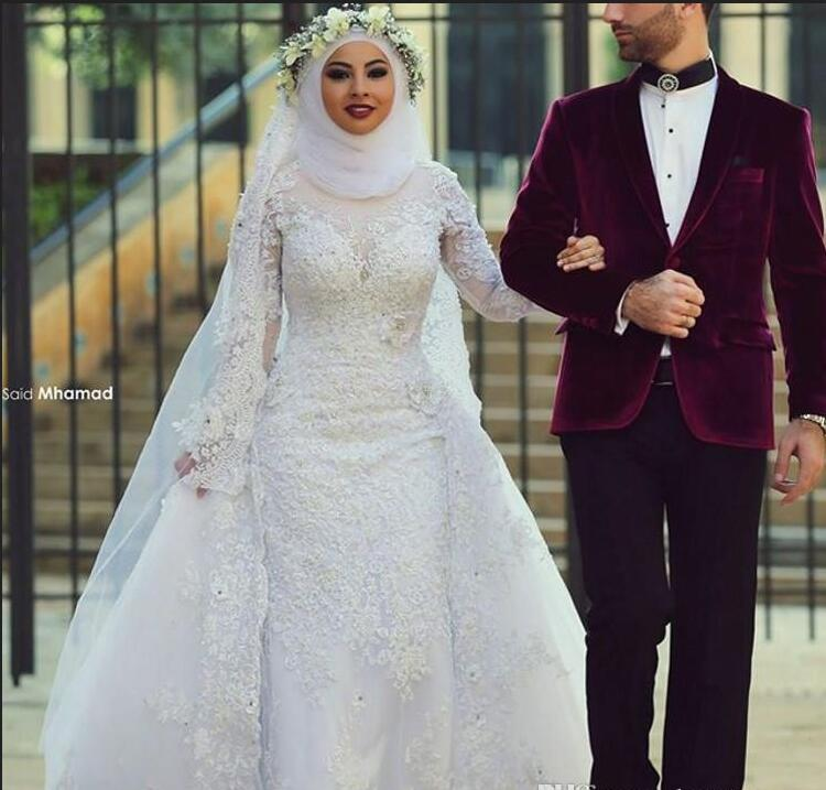 Arabic Long Sleeves Lace Muslim Overskirt Wedding Dresses Arabic ...