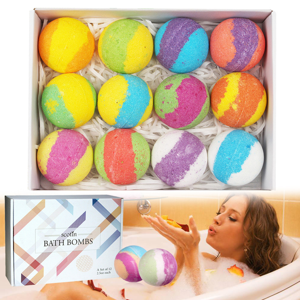 Handcrafted Vegan Bath Bomb With Different Organic Essential Oils Bath Bombs Gift Set Rainbow Soap Bath Bubble Bille De Bain